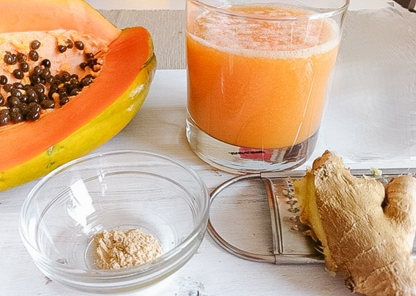 Detox Papaya Juice with Ginger and Maca (belly fat reducer)