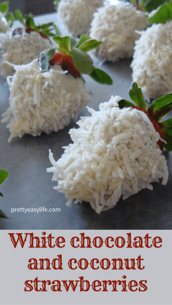 Strawberries dipped in white chocolate and coconut - Christmas dessert