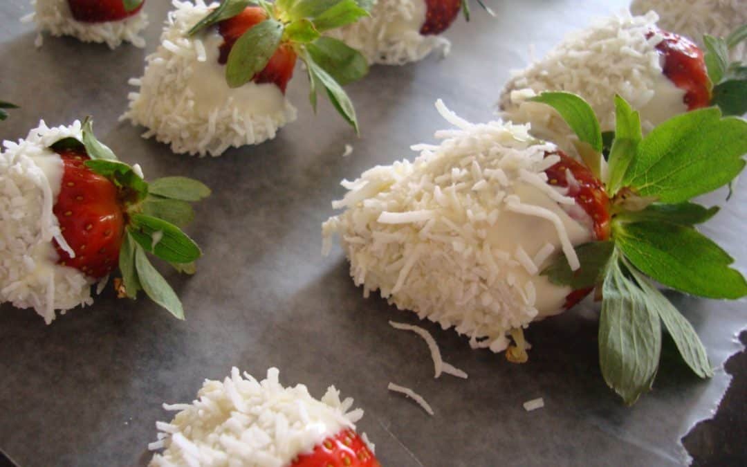 White Chocolate and Coconut Strawberries