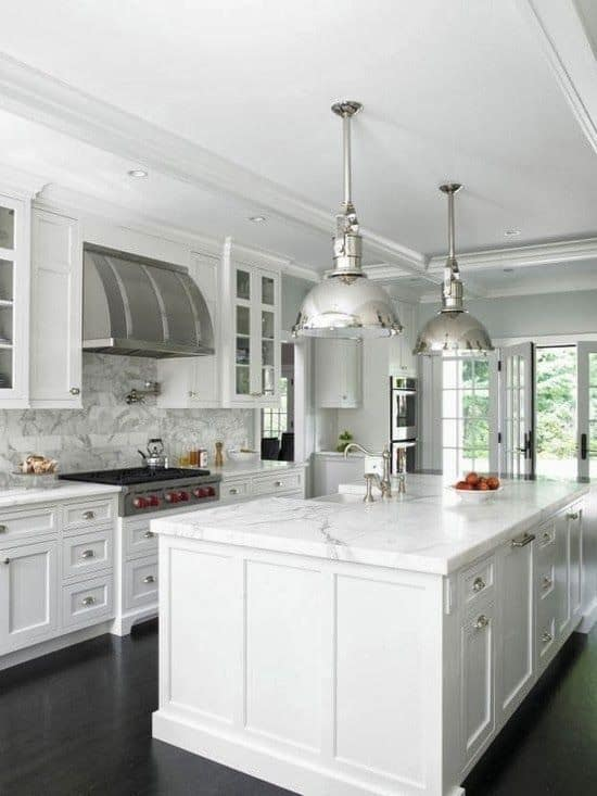 Elegant And Grand, This Kitchen Has A More Traditional Flare With Veins Of  Grey On The Counter Top And Floor. Elegant Contemporary White Kitchen