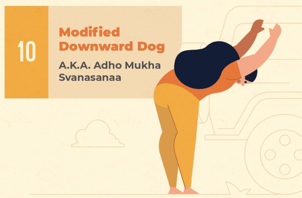 Modified Downward Dog - Car Yoga stretch