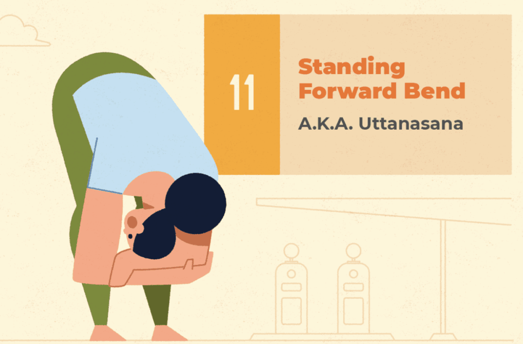Standing forward Bend - Yoga exercises to do in the car